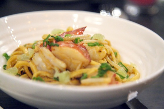 Lobster Chow Mein with wok-fried lobster and chiterra noodles